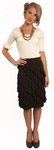 """Diagonal Ruffle"" Modest Skirt in Brown"