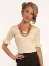 Double Bell Sleeve Modest Top in Cream