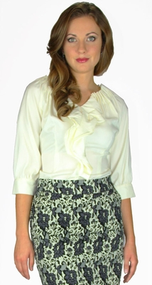 """Double Ruffle """"Bishop Sleeve"""" Modest Blouse in Cream"""