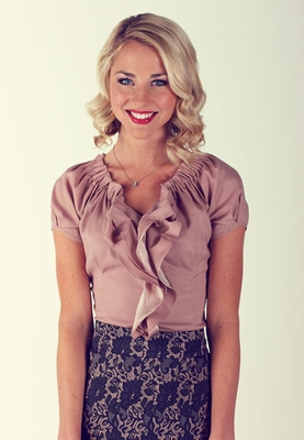 """Double Ruffle"" Modest Blouse in Rose"
