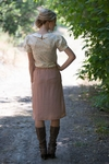 """Double Scallop"" Modest Skirt in Rose *Final Sale*"