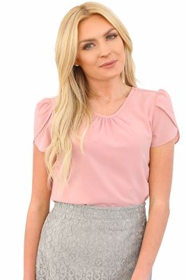 Drape Chiffon Modest Top in Soft Pink