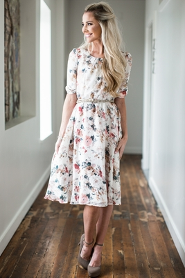 """Easton"" Modest Dress in Cream w/Floral Print *RESTOCKED*"