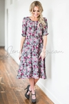 """Easton"" Modest Dress in Grey w/Magenta Floral Print"