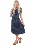 """Elizabeth"" Modest Dress in Navy Polka Dot"