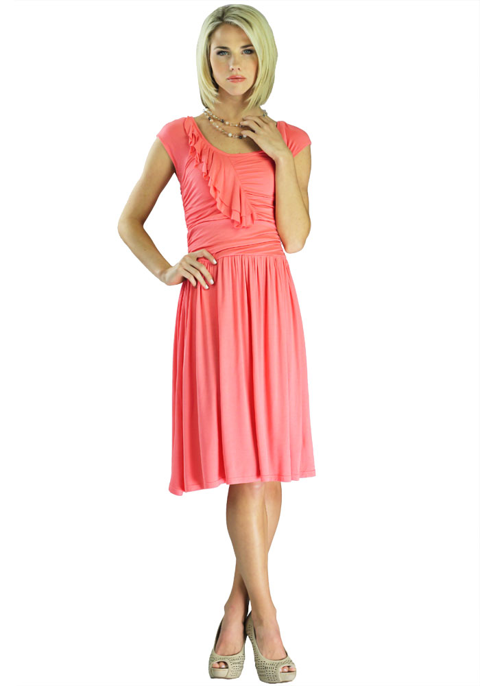 Modest Dresses in Coral Rose