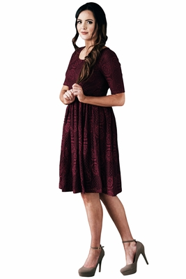 """""""Emery"""" Modest Dress in Burgundy Lace"""