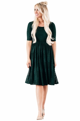 """Emery"" Modest Christmas Dress in Emerald Green Lace"