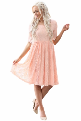 """Emmy"" Modest Dress or Bridesmaid Dress in Peach Lace"