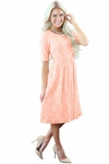 """""""Emmy"""" Modest Easter Dress or Bridesmaid Dress in Peach Lace"""