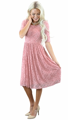 """Emmy"" Modest Dress in Bridal Blush Pink (Mauve) Lace"
