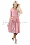 """Emmy"" Modest Dress in Bridal Blush Pink Lace"