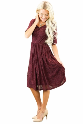 """Emmy"" Modest Dress in Burgundy Lace *RESTOCKED*"