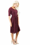 """Emmy"" Modest Dress in Burgundy Lace"