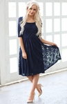 """Emmy"" Modest Lace Dress in Navy Blue, Dark Blue"
