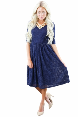 """Emmy"" Modest Dress in Navy Blue *RESTOCKED*"