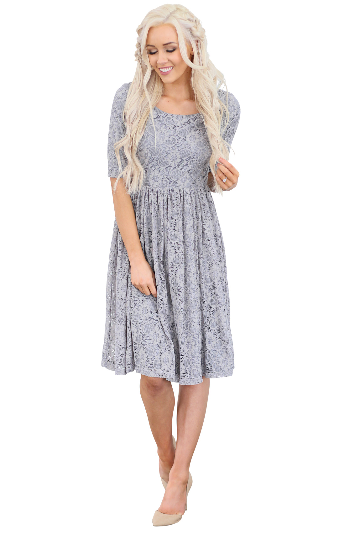 Emmy Modest Bridesmaid Dress in Slate Gray Lace