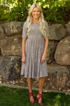 """Emmy"" Modest Dress in Slate Gray Lace"
