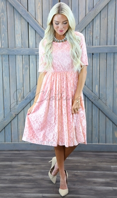 """Emmy"" Modest Dress in Sweetheart Pink Lace"