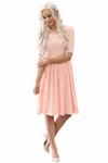 """""""Emmy"""" Modest Dress or Bridesmaid Dress in Peach Lace"""