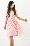 Erica Modest Dress or Bridesmaid Dress in Blush Pink Lace & Chiffon