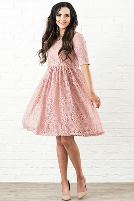 Erin Modest Dress in Blush Pink / Rose Pink Lace