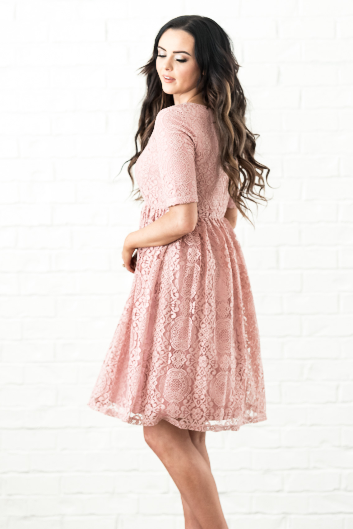 ab536ba6ff9b ... Erin Modest Dress in Blush Pink / Rose Pink Lace