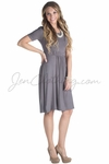 """""""Erin"""" Modest Dress in Charcoal Gray"""