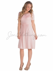 """Erin"" Modest Dress in Lotus Light Blush Pink"