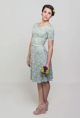 """Esther"" Modest Dress in Silver Lace over Sage Green"