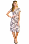 Eve Modest Dress in Pink & Grey Damask Print