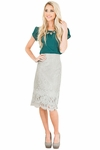 Eyelash Lace Fringe Modest Pencil Skirt in Gray