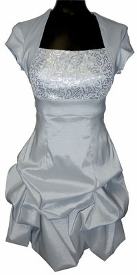 Faux Shrug Modest Prom Dresses in Silver