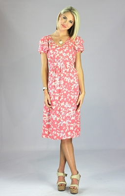"""""""Felicity"""" Modest Dress in Salmon Pink Floral Print"""