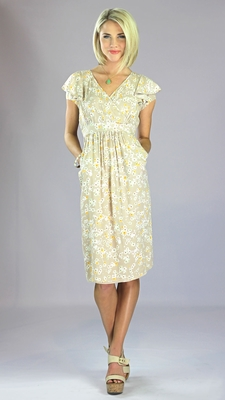 """""""Felicity"""" Modest Dress in Tan Floral Print"""