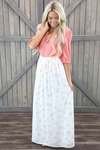"""""""Floral Maxi"""" Modest Skirt in Cream w/Pink Floral Print"""