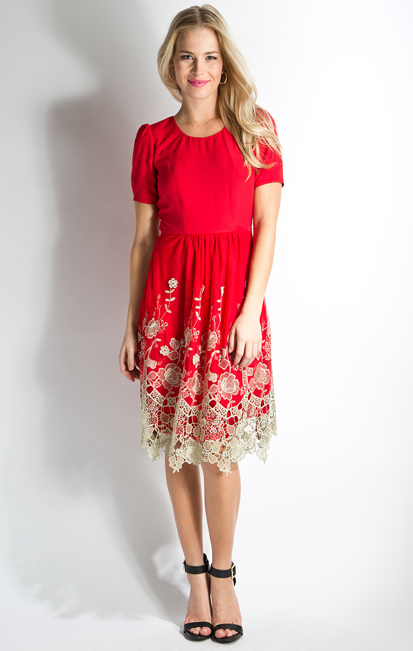 Golden Prospect Modest Dress in Red with Lace-Like Embroidery