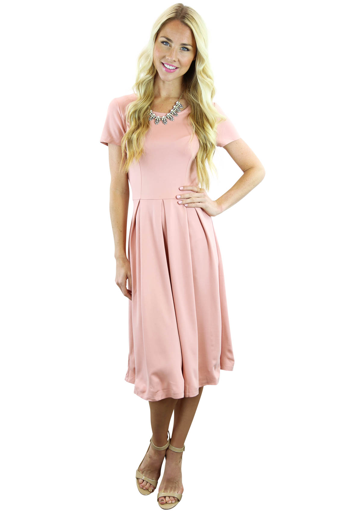 Grace A-Line Modest Dress In Blush Pink