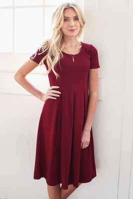 """Grace"" Modest Dress in Burgundy *RESTOCKED*"