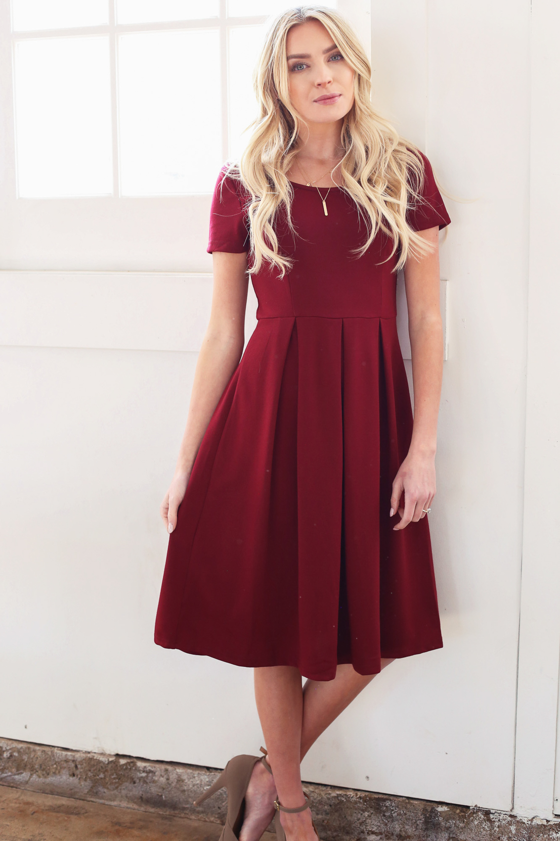 Grace A Line Modest Dress In Burgundy