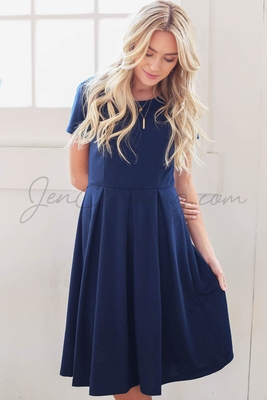 """Grace"" Modest Dress in Navy Blue *RESTOCKED*"
