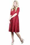 """Haley"" Modest Dress in Red Lace"