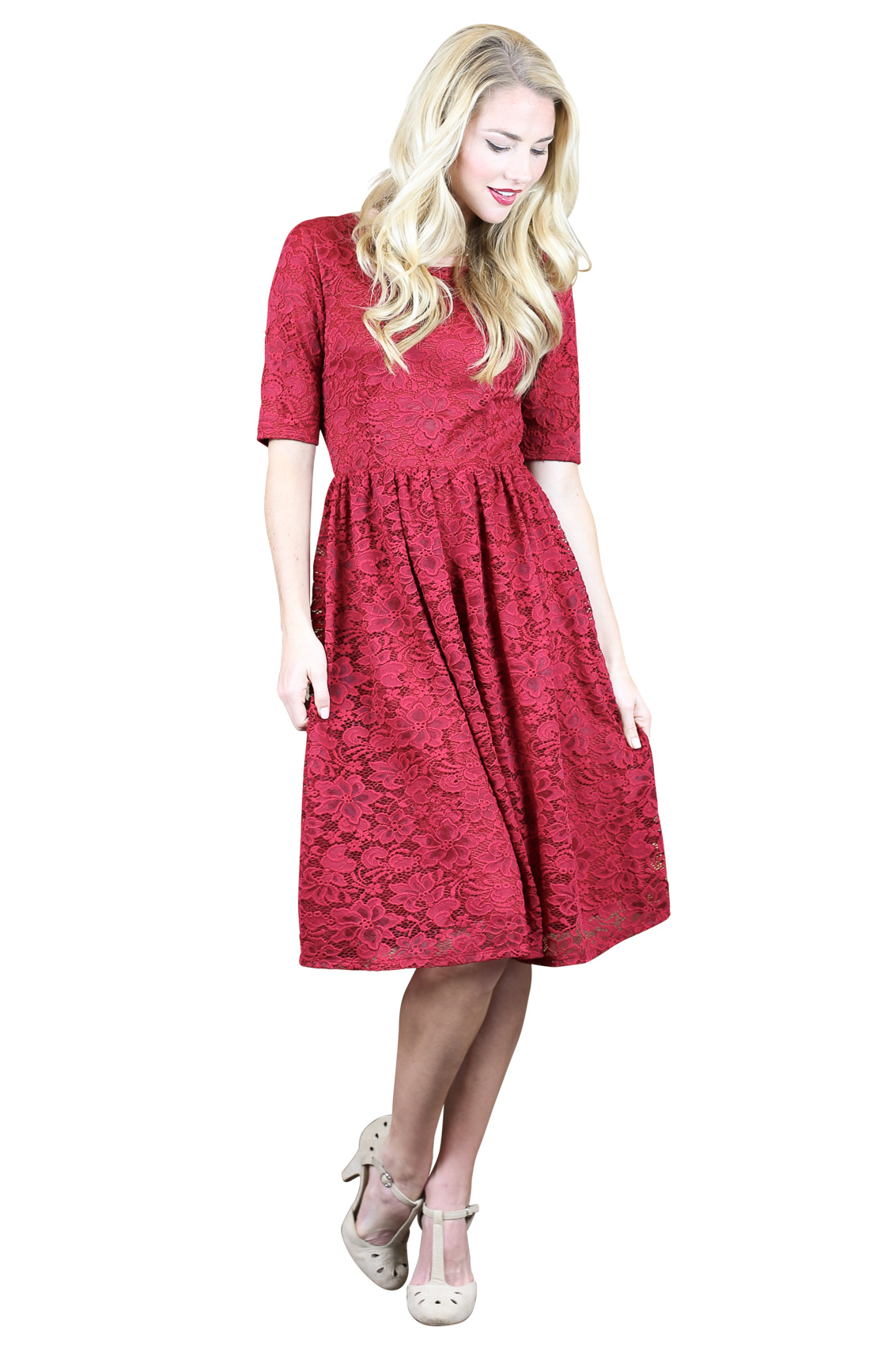 Haley Modest Bridesmaid Dress in Berry Red Lace|Modest ...