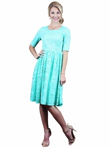 """Haley"" Modest Dress in Mint Lace"