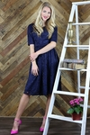 """Haley"" Modest Dress in Navy Blue Lace"