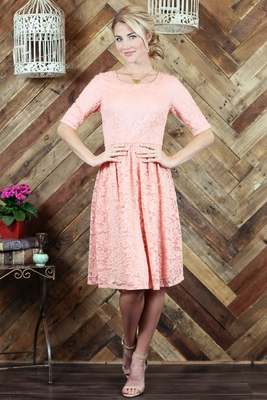 """""""Haley"""" Modest Dress in Peachy Pink Lace"""
