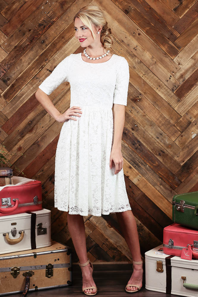 Haley Modest Semi-Formal Dress in White Lace