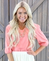 Half-Sleeve V-Neck Modest Top in Light Coral