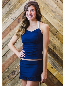 """Ireland"" Modest Tankini Top in Solid Navy"