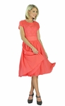 """Isabel"" Modest Semi-Formal or Bridesmaid Dress in Coral"
